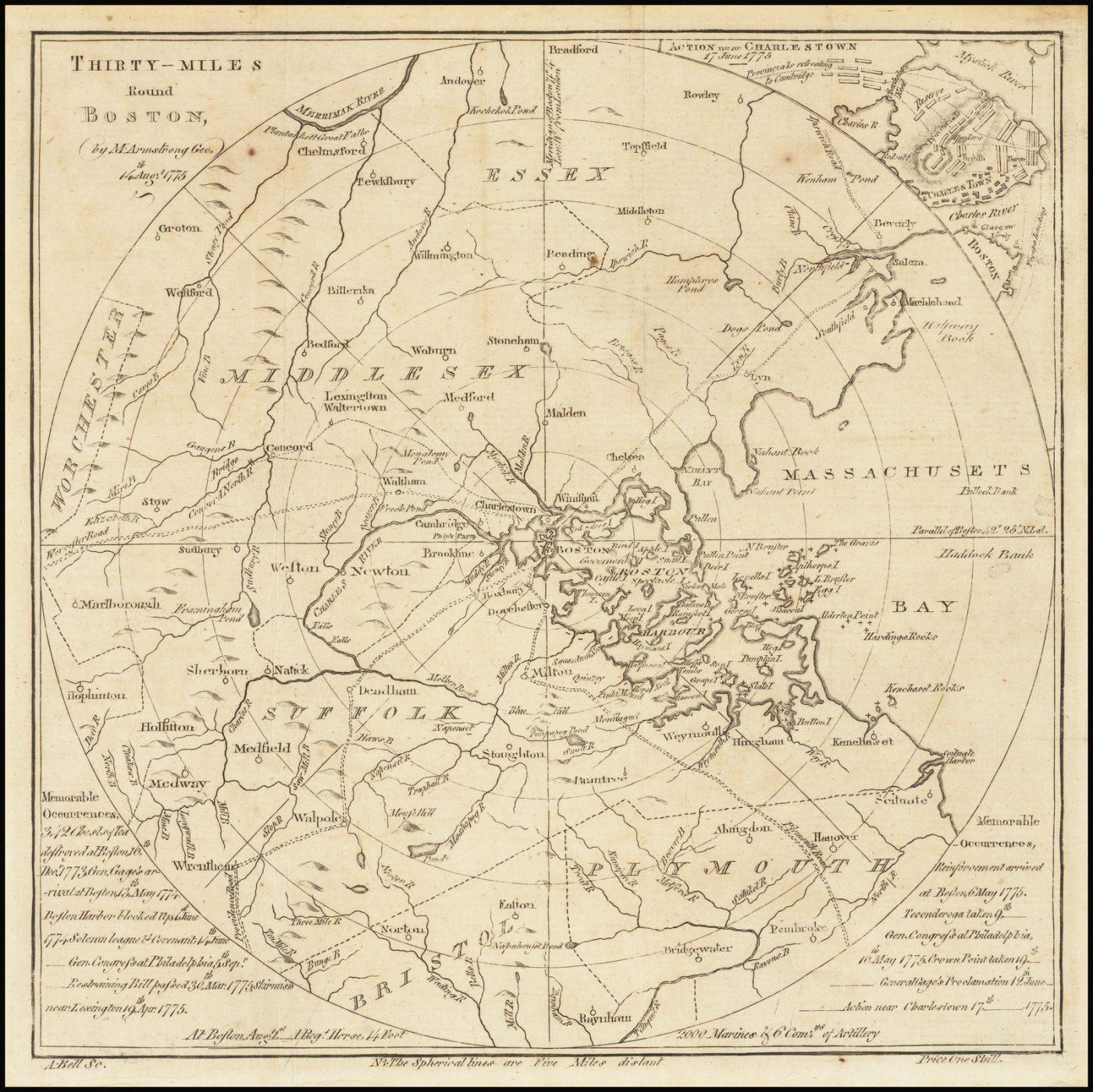 30 миль вокруг Бостона - одна из самых первых американских революционных карт и планов сражений, включая упоминание о Бостонском чаепитии