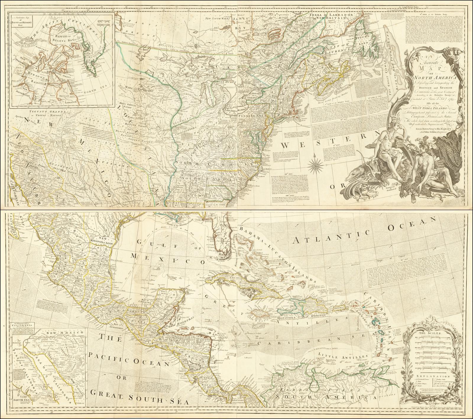 4-х листовая карта Северной Америки накануне Американской революции описывающая британские и испанские доминионы