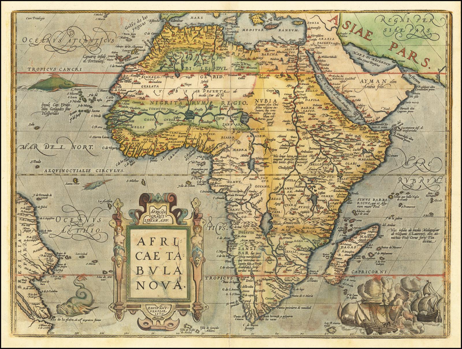 Африка Ортелиуса - одна из самых влиятельных карт Африканского континента