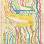 Большая и красивая гравированная вручную карта времени на трех соединенных листах