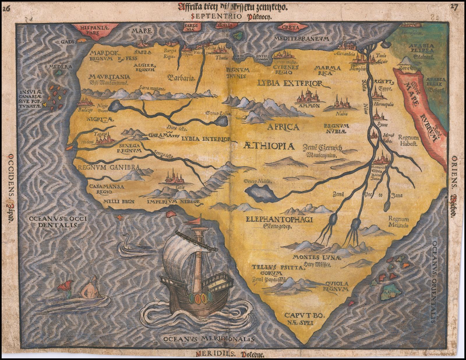 Чрезвычайно редкий чешский языковой пример карты Африки Бантинга (a frica Tertia Pars Terrae), которая включает в себя обширные современные рукописные заметки внутри карты