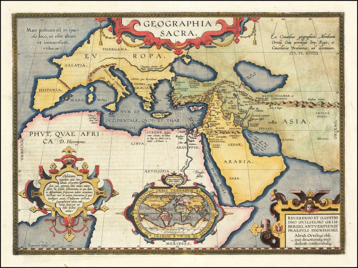 Декоративный пример карты древнего мира Ортелия со вставкой его современной карты мира