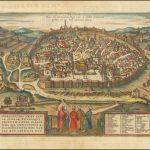Декоративный вид на Иерусалим с высоты Елеонской горы - карта Генриха Бантинга