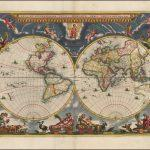 Двухполушарная античная карта мира Йоханнеса Блау 17 века