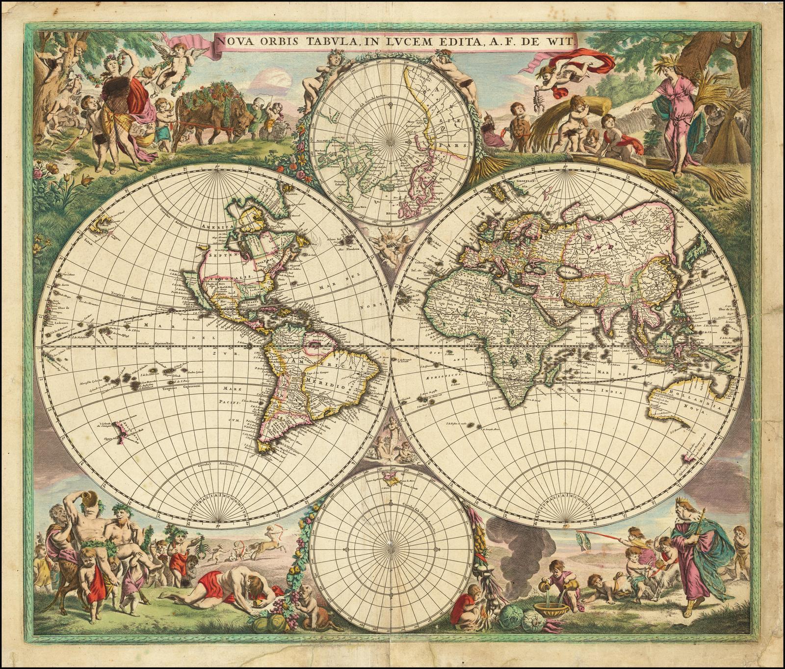 Двухполушарная карта мира Фредерика де Вита с существенно новыми картографическими деталями в Юго-Восточной Азии и к северу от Новой Зеландии
