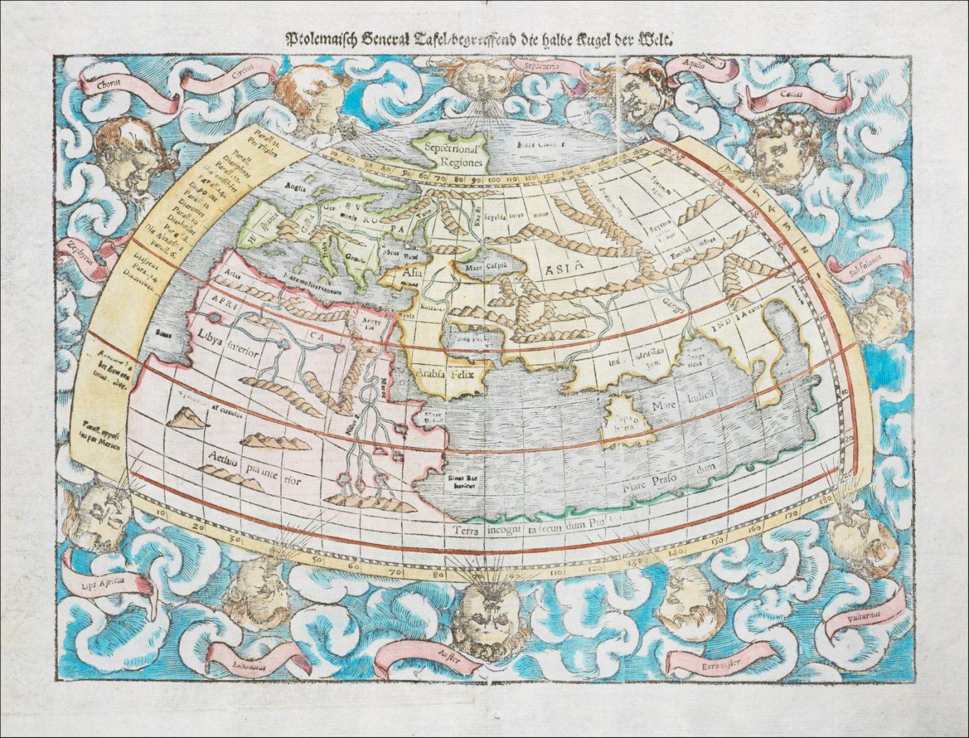 Хороший полноцветный пример первой древней карты мира Мюнстера, основанной на трудах Птолемея
