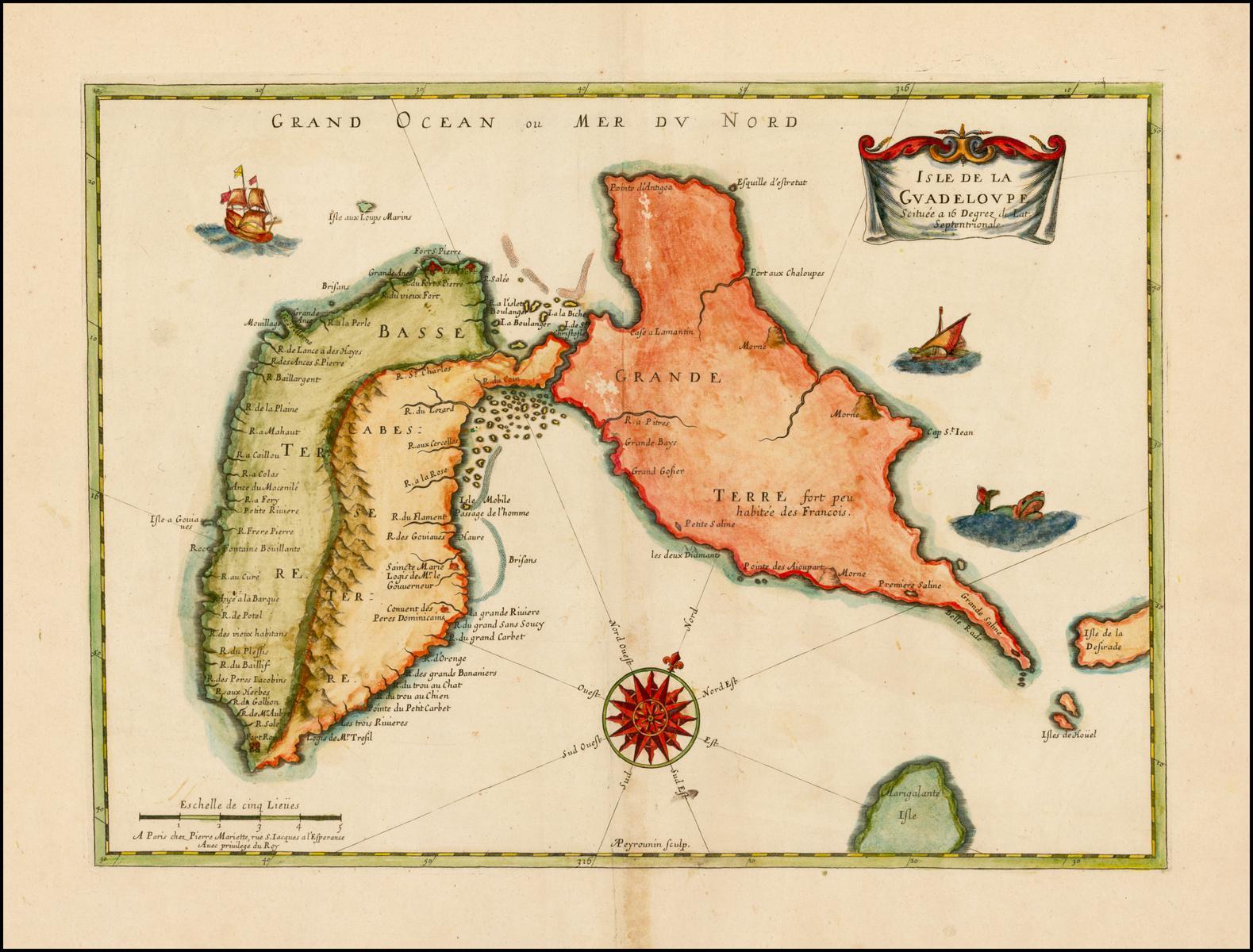 Хороший полноцветный пример первой печатной карты острова Гуадалупа, вскоре после его самого раннего поселения в 1635 году