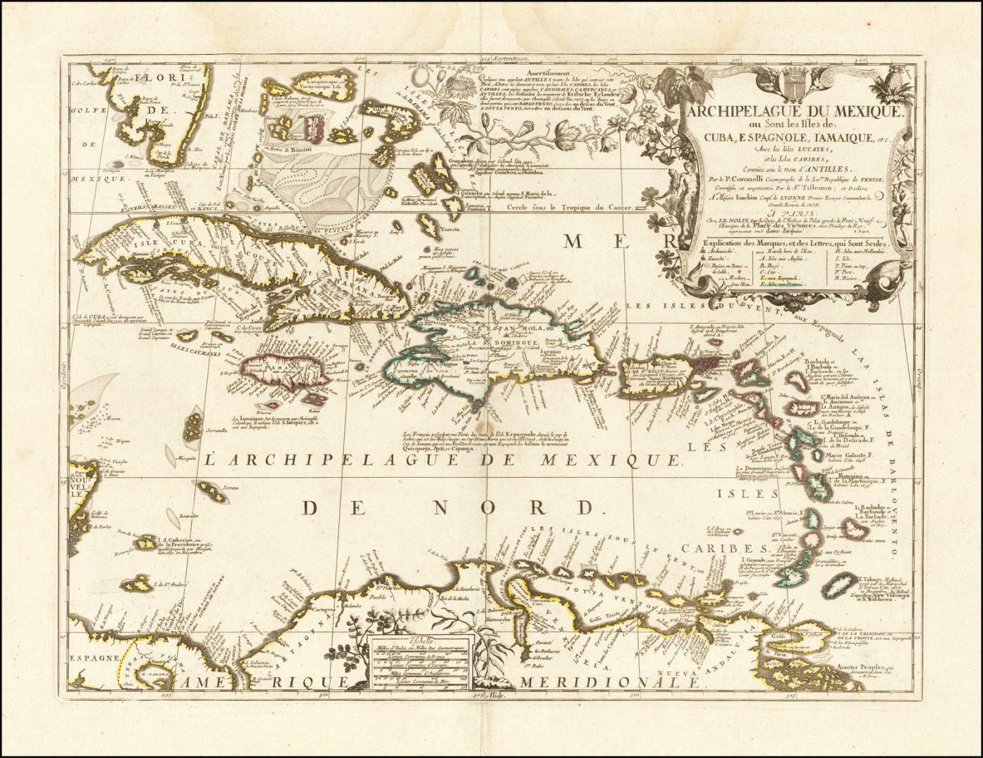 Хороший пример заключительного издания карты Карибского бассейна Нолин-Коронелли