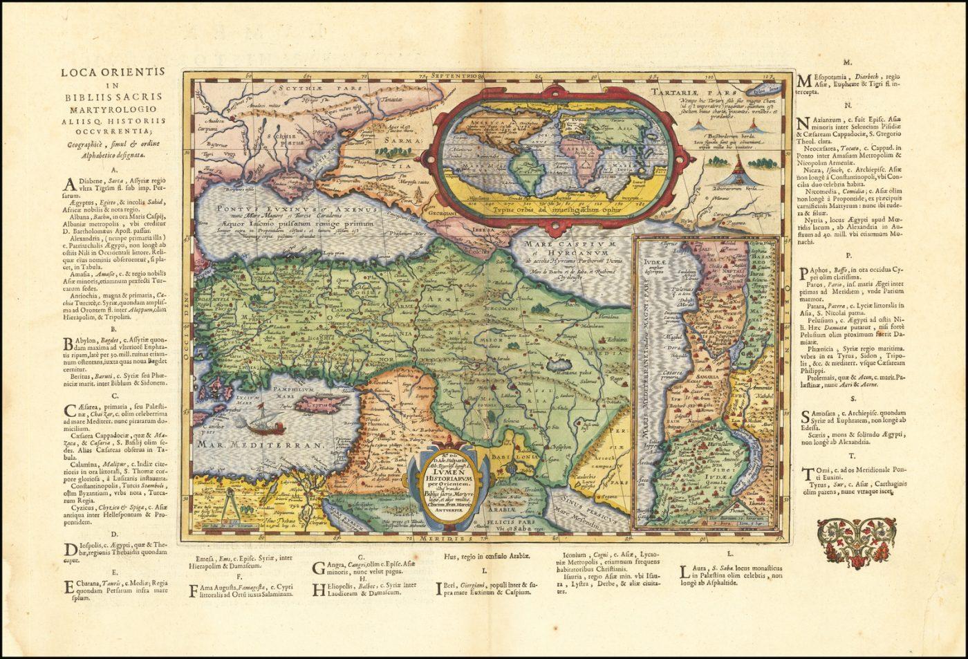Историческая карта Древнего мира, основанная на Библии, опубликована в последнем Моретусском издании Парергона в 1624 году