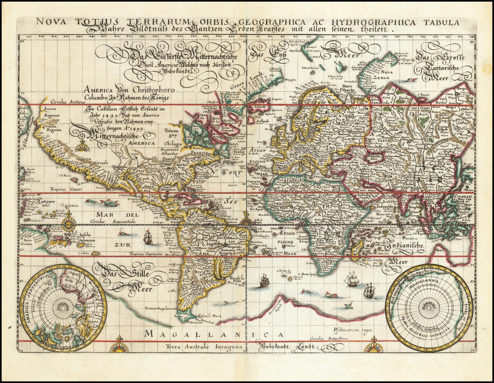 Издание Маттауса Мериана знаменитой карты мира Блау в проекции Меркатора