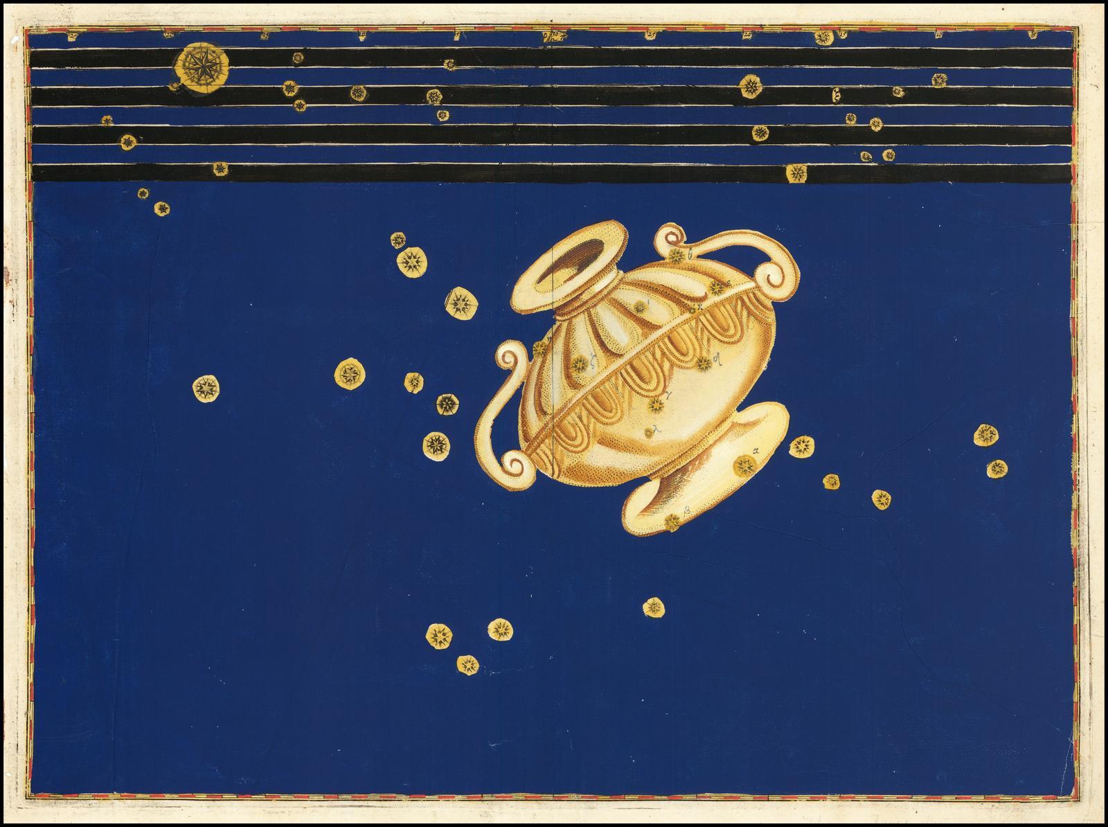 Карта Байера созвездия Кратер, одного из 48 созвездий, перечисленных астрономом II века Птолемеем