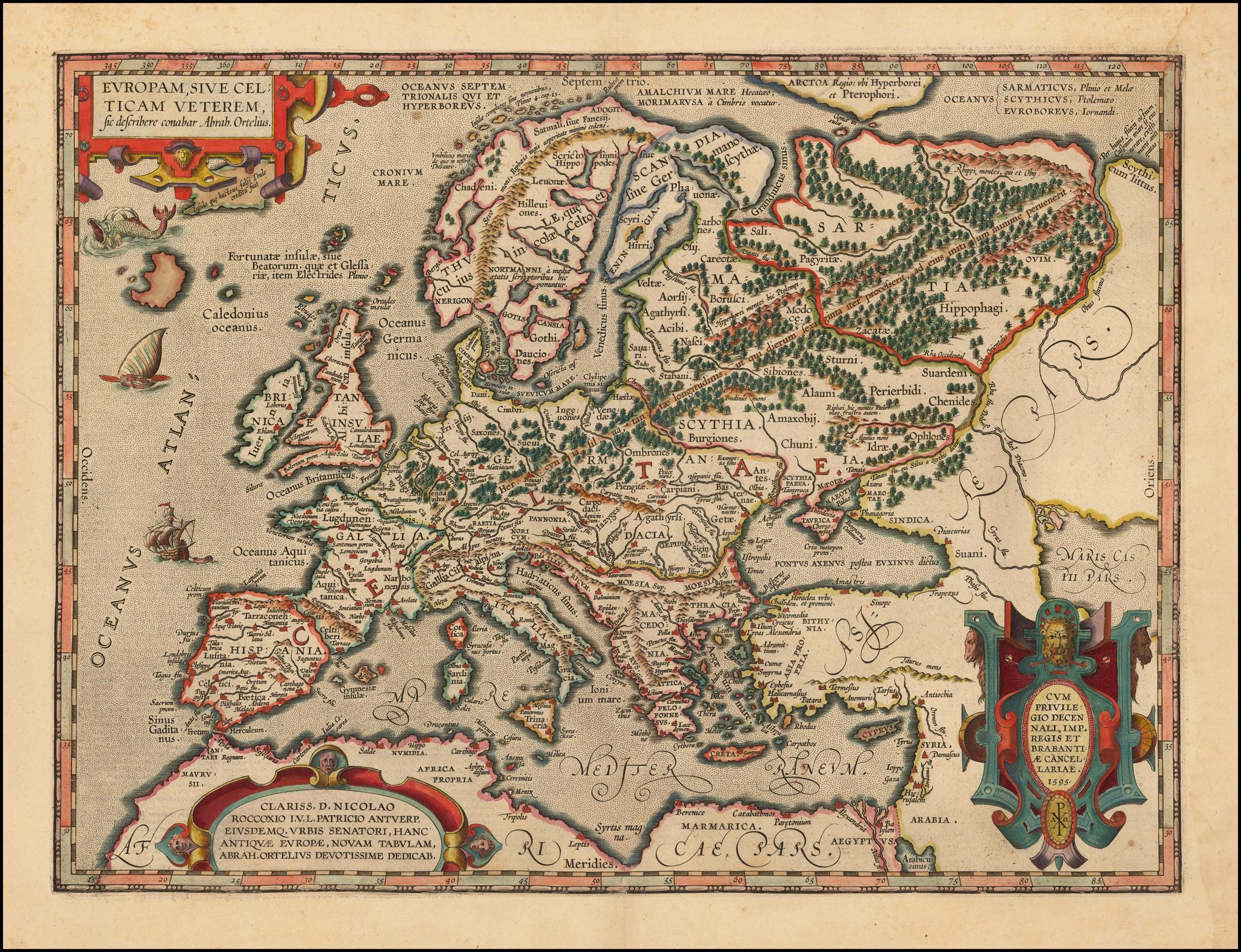 """Карта кельтской империи Ортелия из книги """"Theatrum Orbis Terraum"""", впервые опубликованной в 1570 году"""