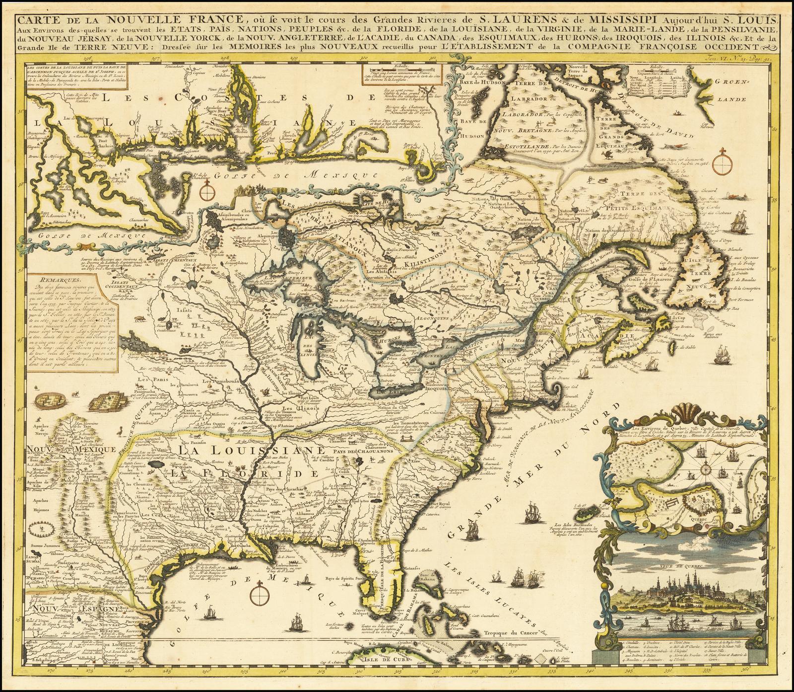 Карта населенных частей Северной Америки Анри Шатлена, основанная на знаковой карте Николаса де Фера опубликованной в 1718 году