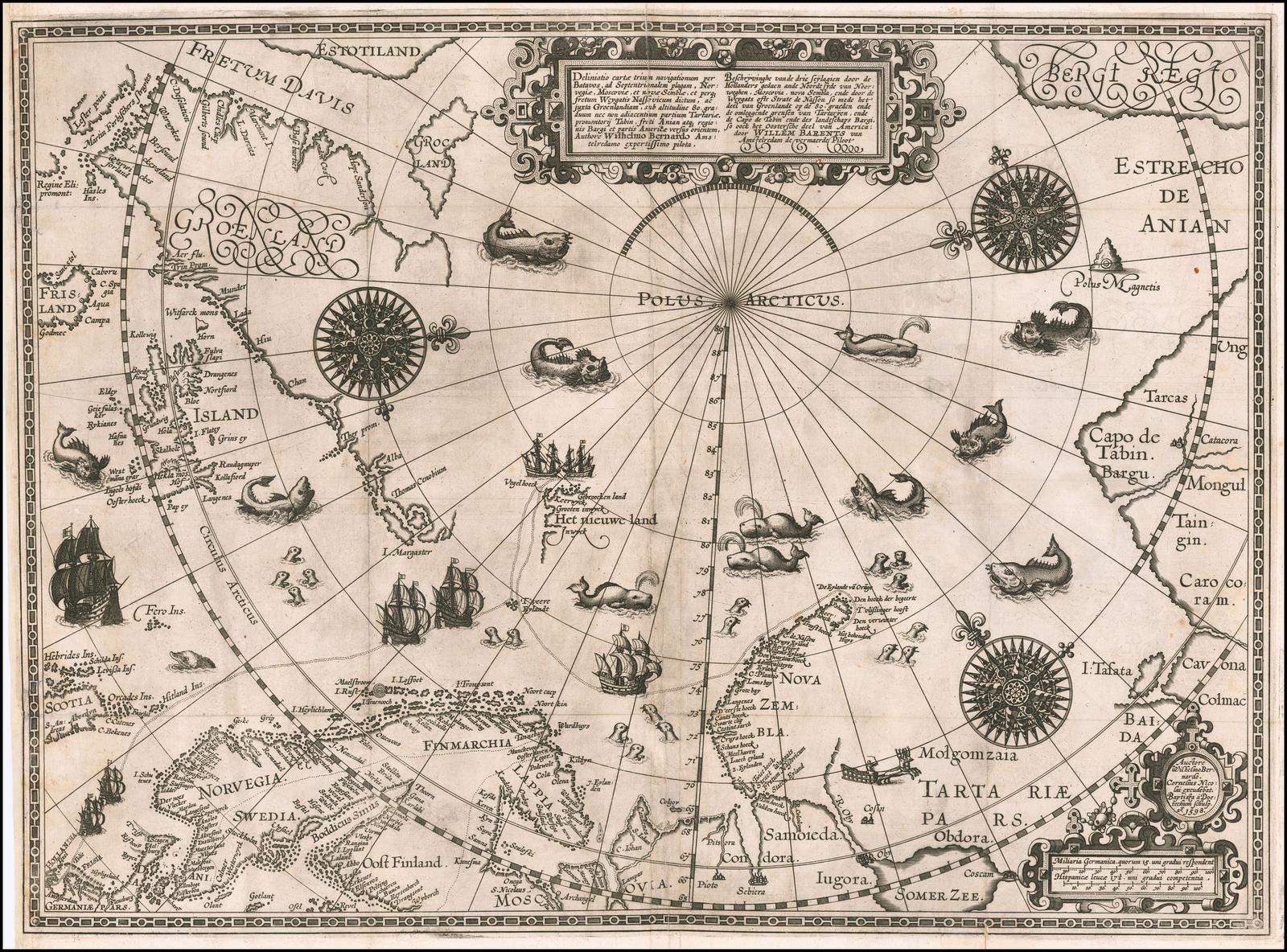 Карта полярных областей Виллема Баренца, составленная по его наблюдениям во время третьего путешествия 1596-1597 годов и гравированная Батистом Ван Дейтекумом