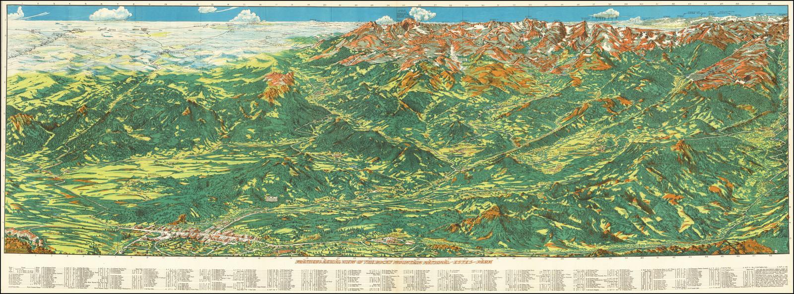 Карта Ральфа Карлайла Пратера - потрясающий вид на Скалистые горы из парка Эстес