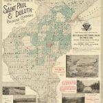 Карта с указанием Земель, принадлежащих Железнодорожной Компании Сент-Пол и Дулут 1893 года