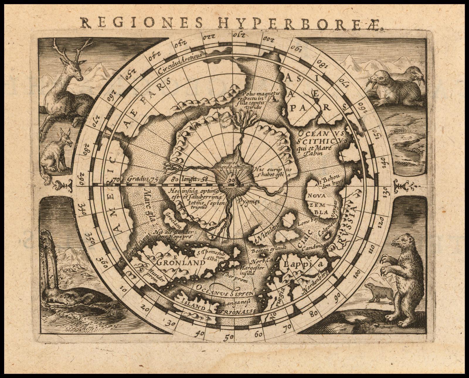 Карта Северного полюса Герхарда Меркатора в уменьшенном размере, впервые опубликованная в 1595 году