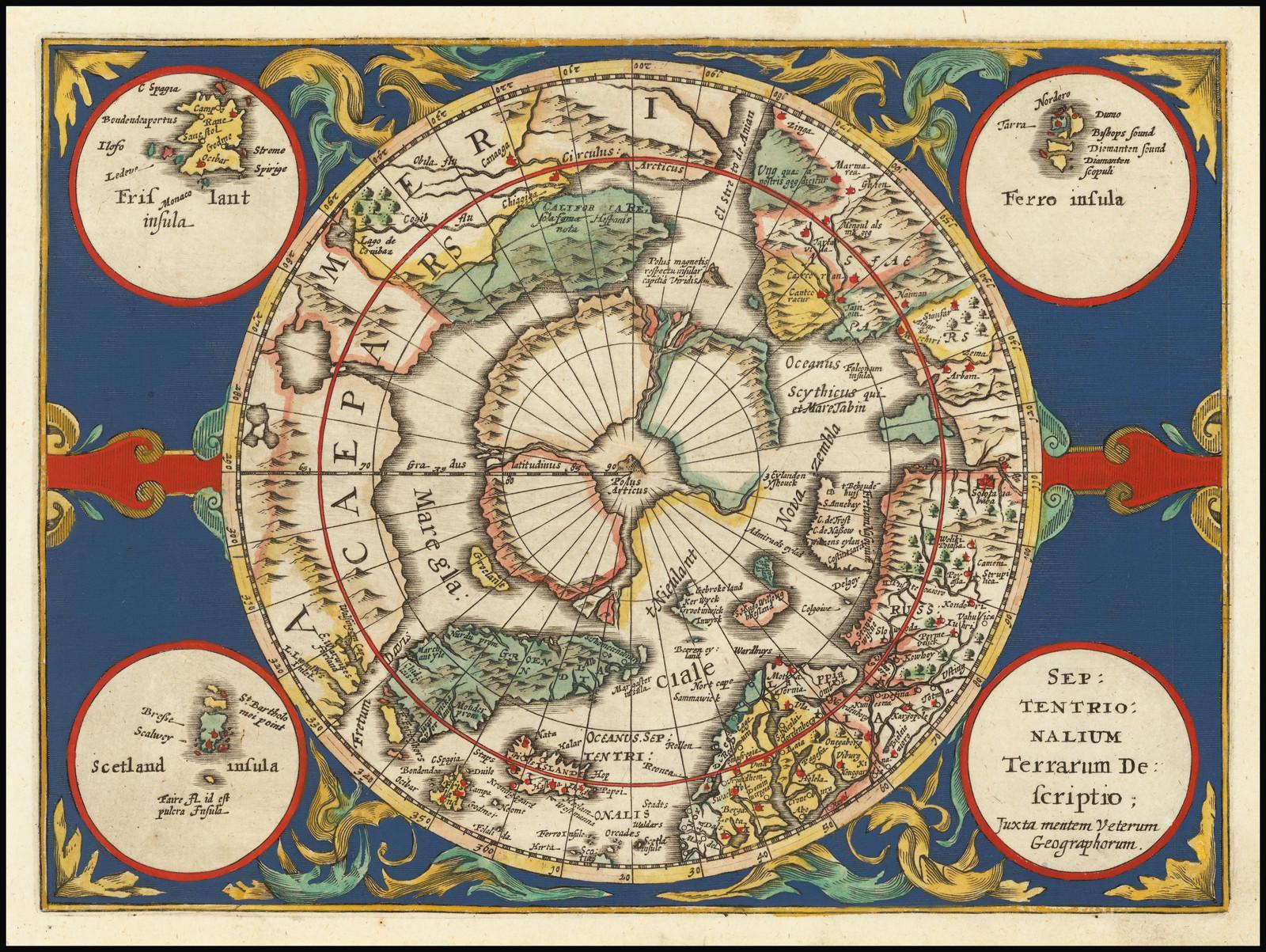 Карта северных полярных областей 17 века Жерара Меркатора с мифическим островом Фрисландия