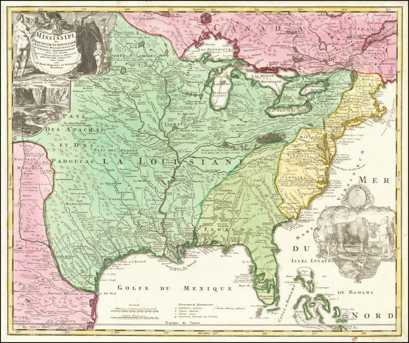 Карта течения реки Миссисипи, составленная Хоманном на основе отчетов Хеннепина, исследовавшего верховья Миссисипи и районы Великих Озер в качестве миссионера-иезуита в конце 1600-х годов