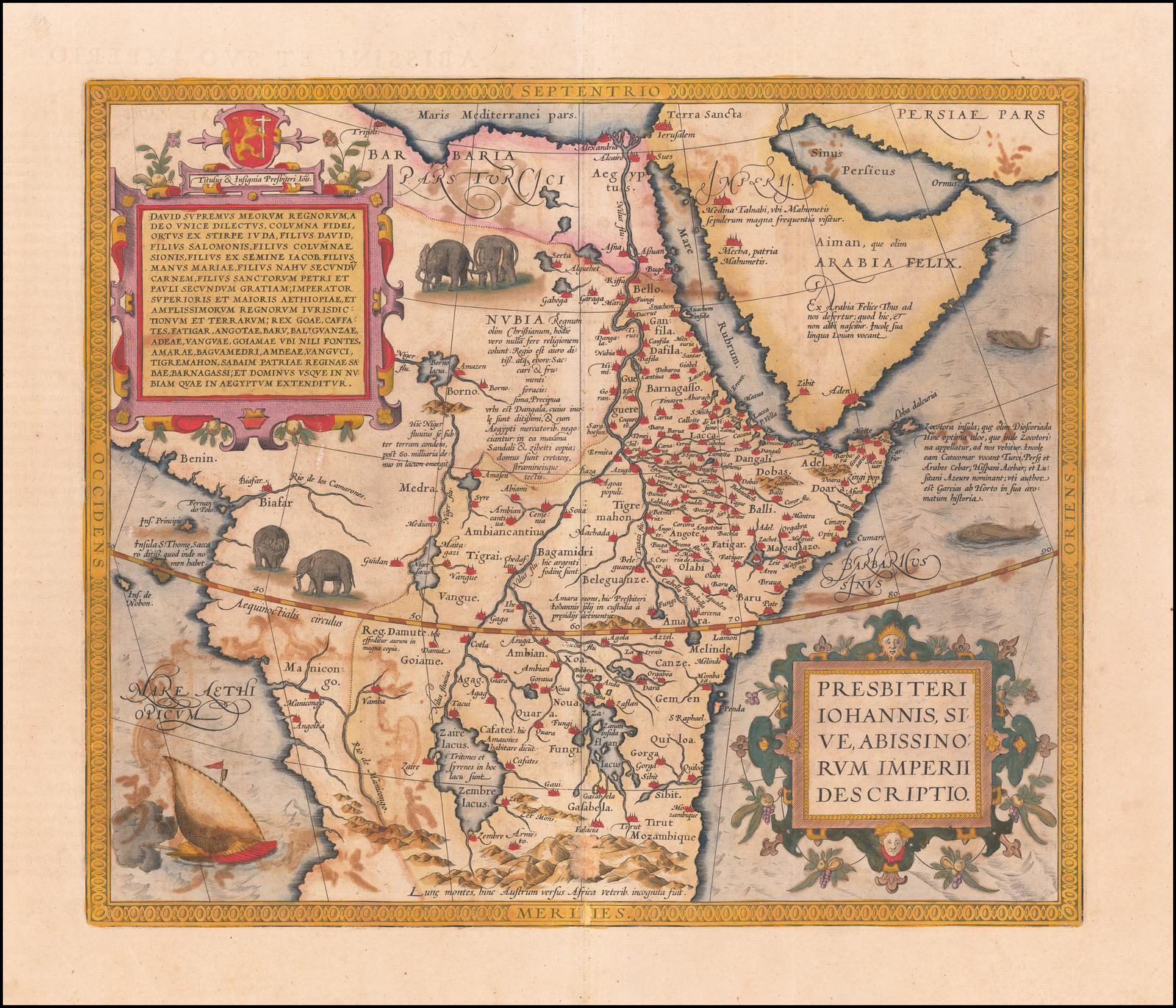 Карта Центральной Африки Ортелия, Хроника христианского царства Пресвитера Иоанна