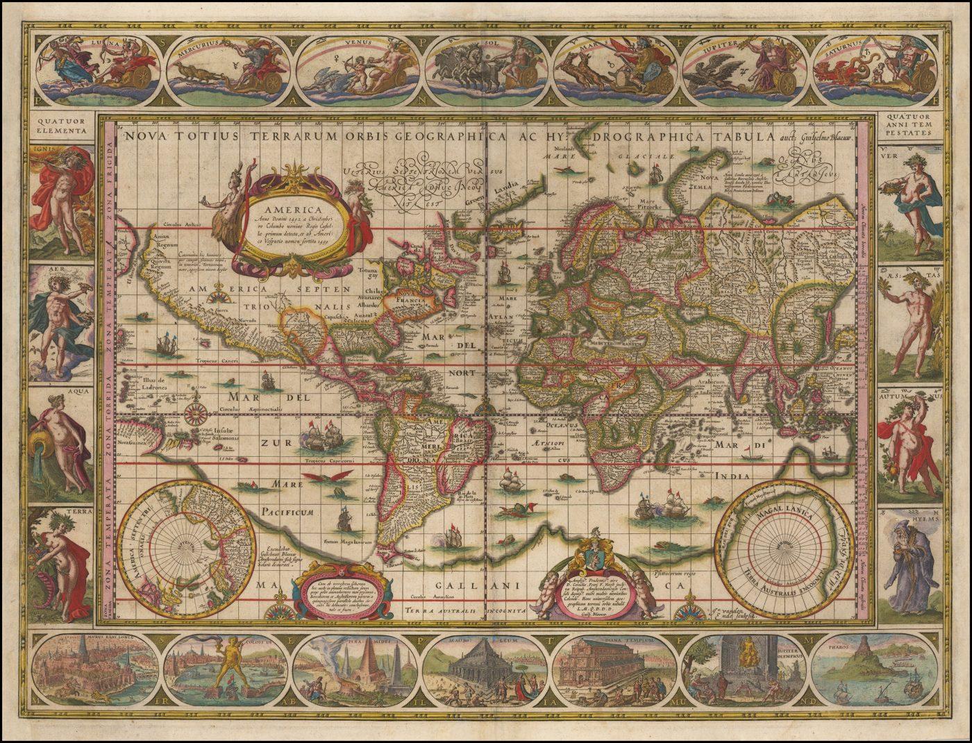 Классическая карта мира Блау на проекции Меркатора 1660 года