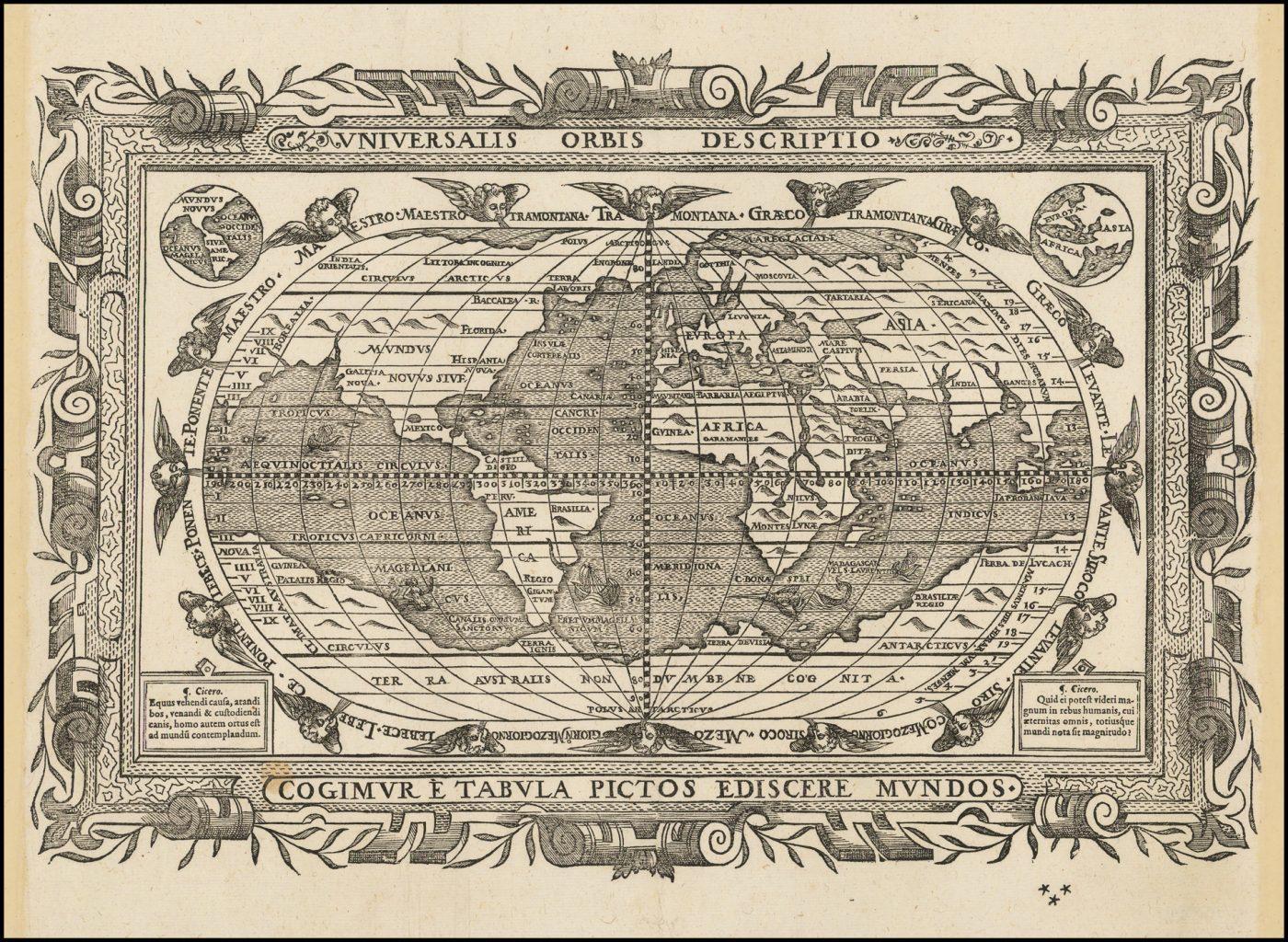 Классически оформленная, смело выгравированная карта мира шестнадцатого века