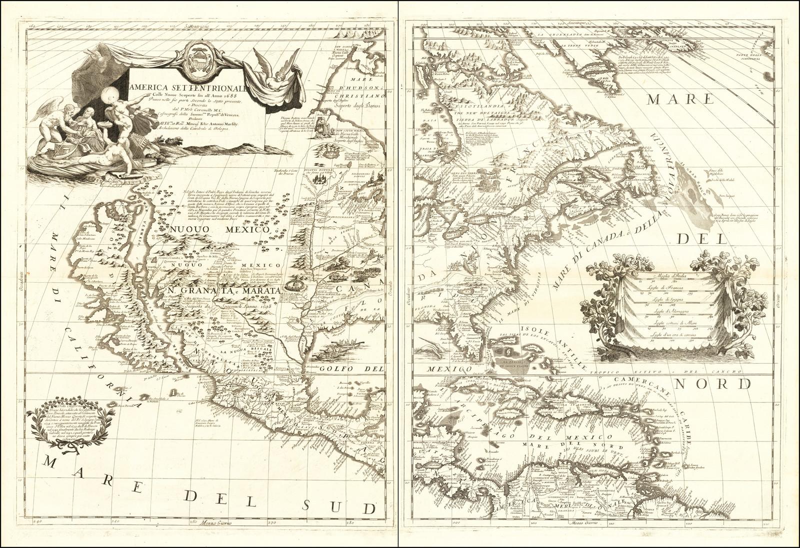 Краеугольная карта Северной Америки Коронелли - одна из самых влиятельных карт континента, опубликованная в конце семнадцатого века