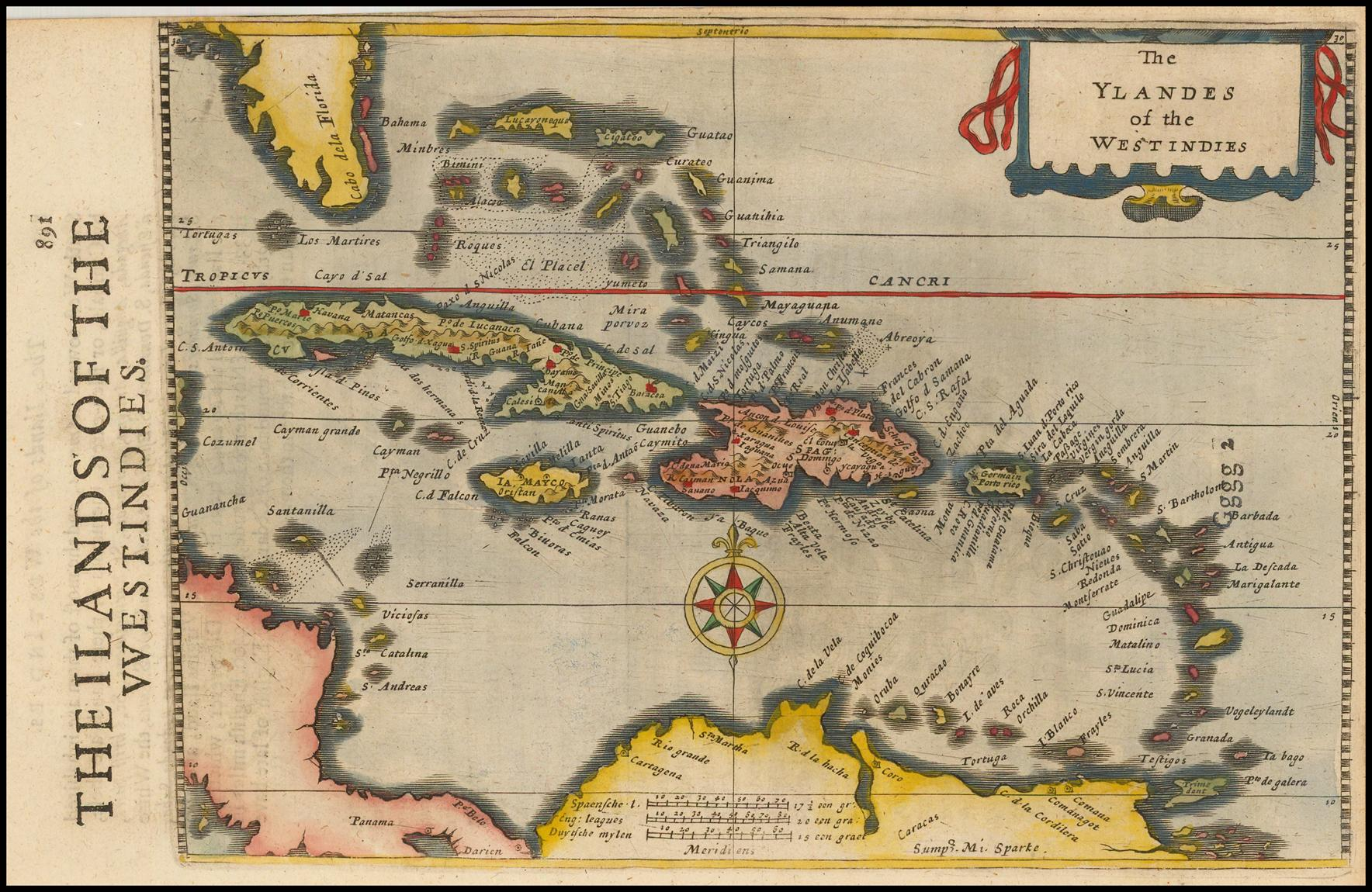 Малая карта Карибского бассейна из атласа Меркатора-Хондиуса