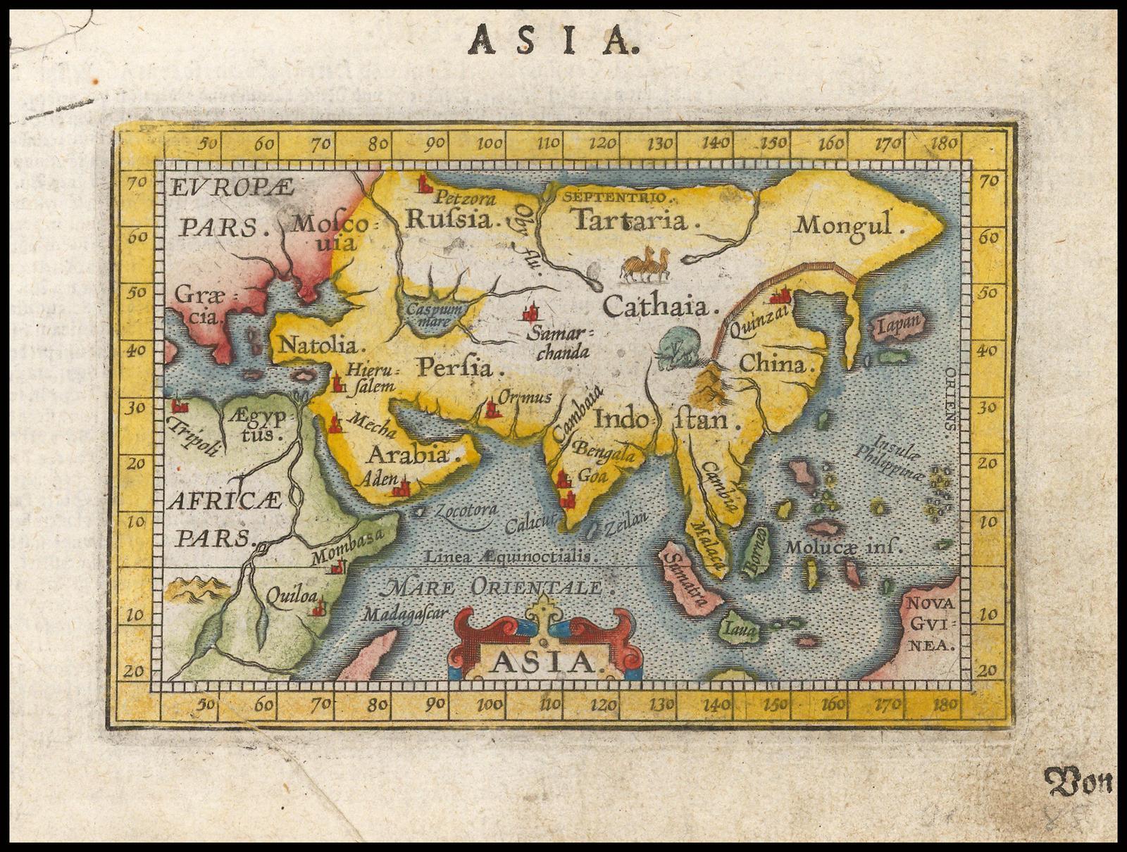 Миниатюрная карта Азии Ортелия из первого издания Эпитомия, опубликованная Джованни Баттиста Вриентсом