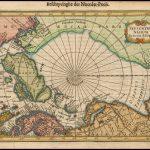 Миниатюрная старинная Полярная карта опубликованная в Амстердаме Яном Янссониусом