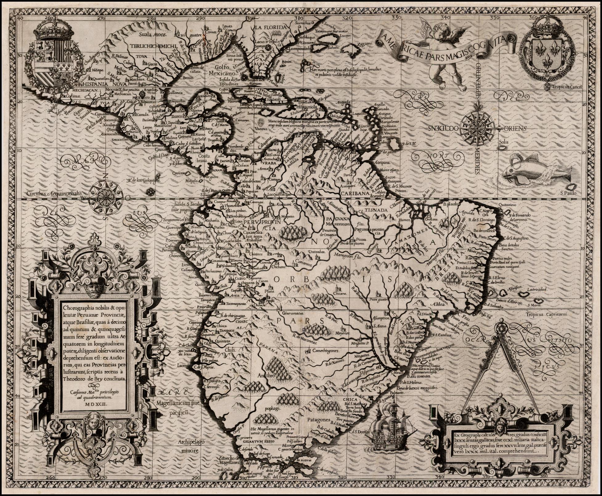 На карте одно из лучших ранних изображений Южной Америки - она об открытиях в начале последнего десятилетия XVI века