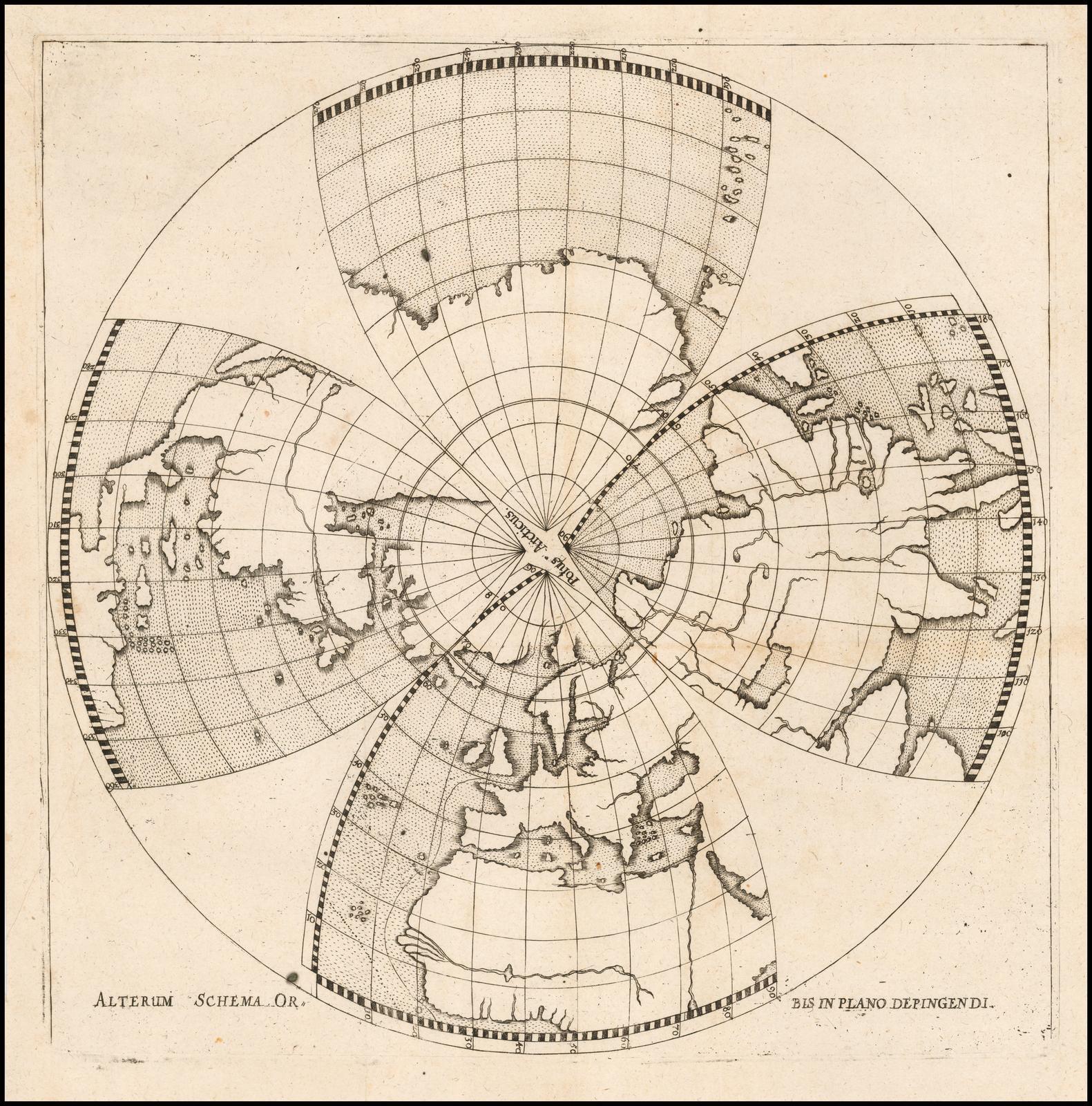 Необычная проекция Северного полушария в XVII веке