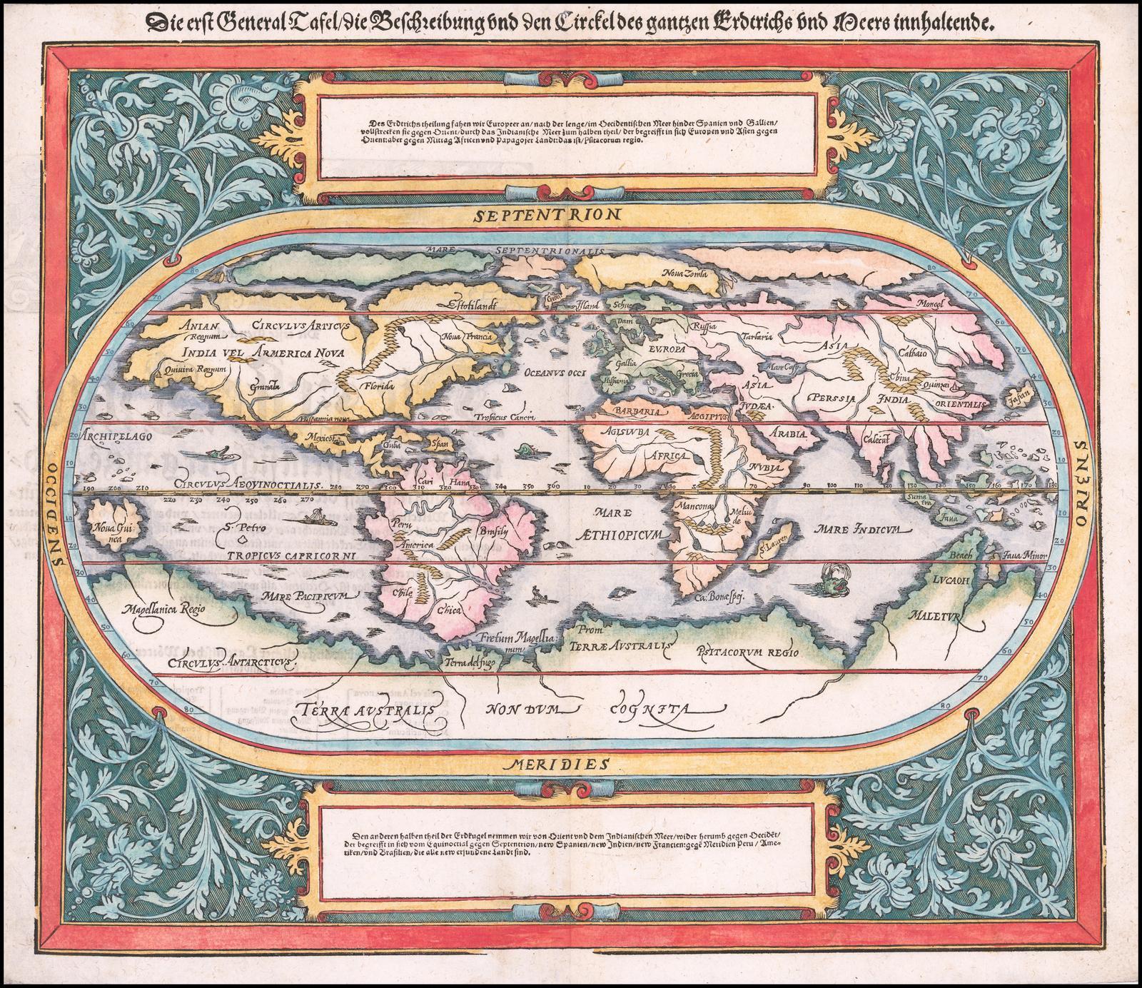 Обновленная карта мира из Космографии Мюнстера