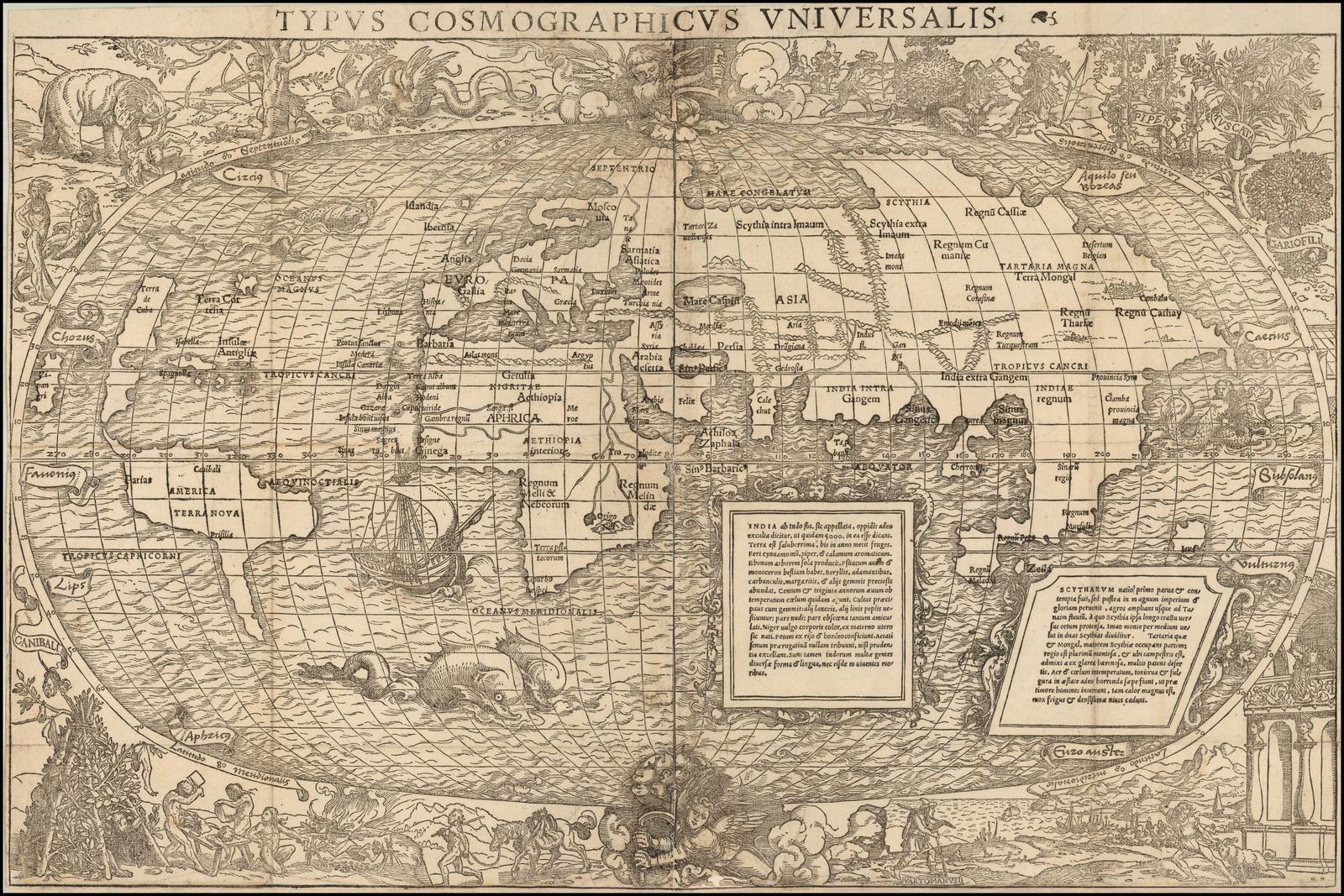 Одна из самых интересных античных карт мира 16 века Себастьяна Мюнстера и Симона Гринея