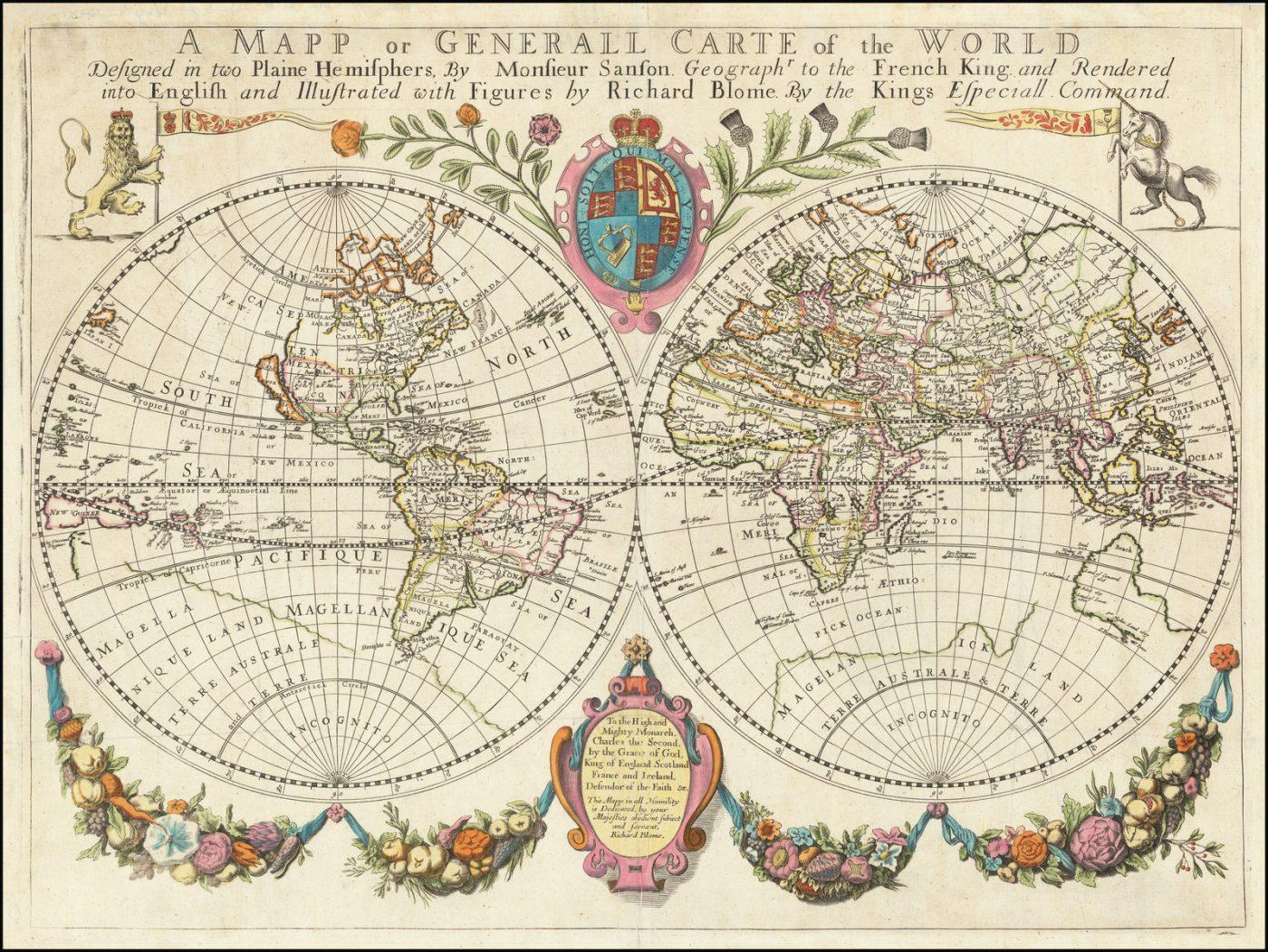 Одна из самых ранних доступных крупноформатных английских карт мира