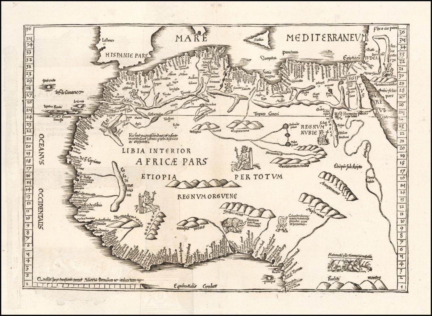 Одна из самых ранних карт Африки Лоренца Фриза, издание 1525 года