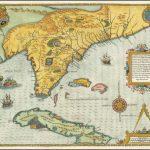 Ориентирная карта Флориды и Юго-Востока Жака Ле Мойна, основанная на экспедиции Лаудоньера во Флориду в 1564 году