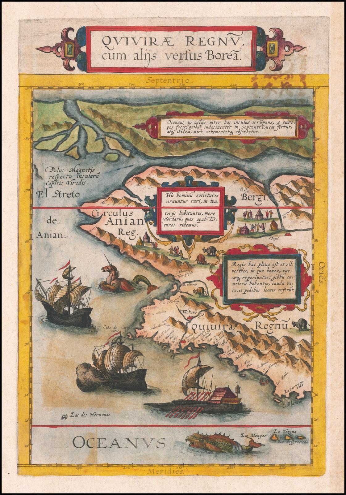 Оригинальная карта де Жода 1593 года с изображением старинных полярных карт
