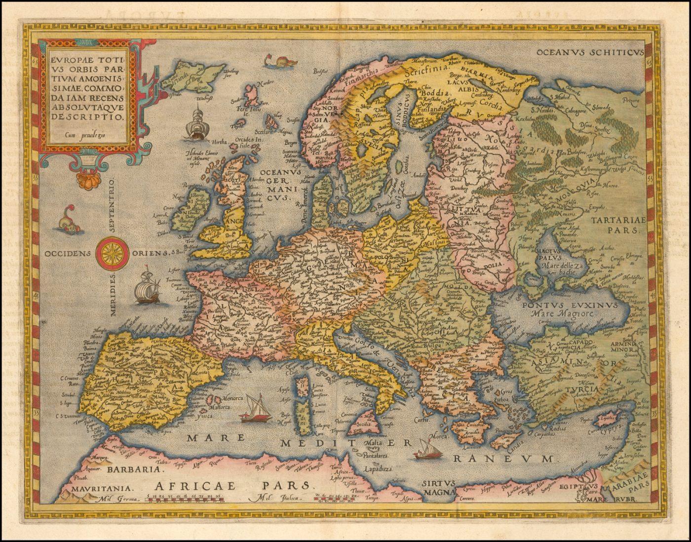 Первая карта Европы Жерара де Жода