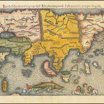 """Первая печатная карта Азии, составленная Себастьяном Мюнстером, из издания """"Космографии"""" 1550 года"""