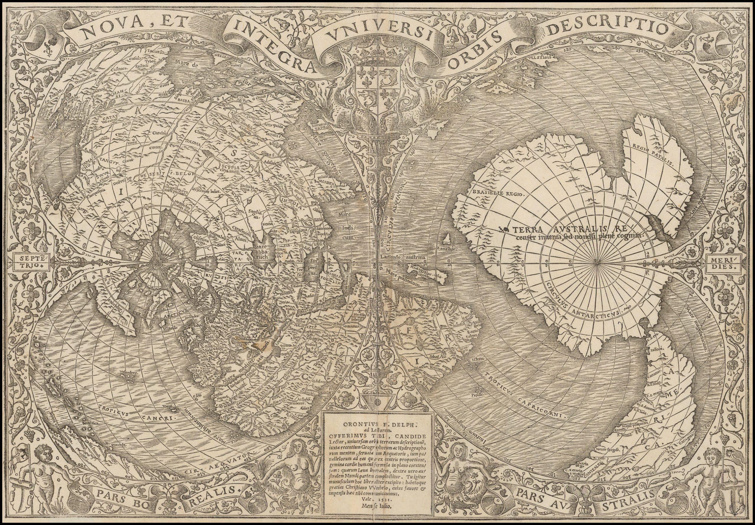 Первое издание двойной сердцевидной карты мира и одной из самых ранних с упоминанием Магеллана