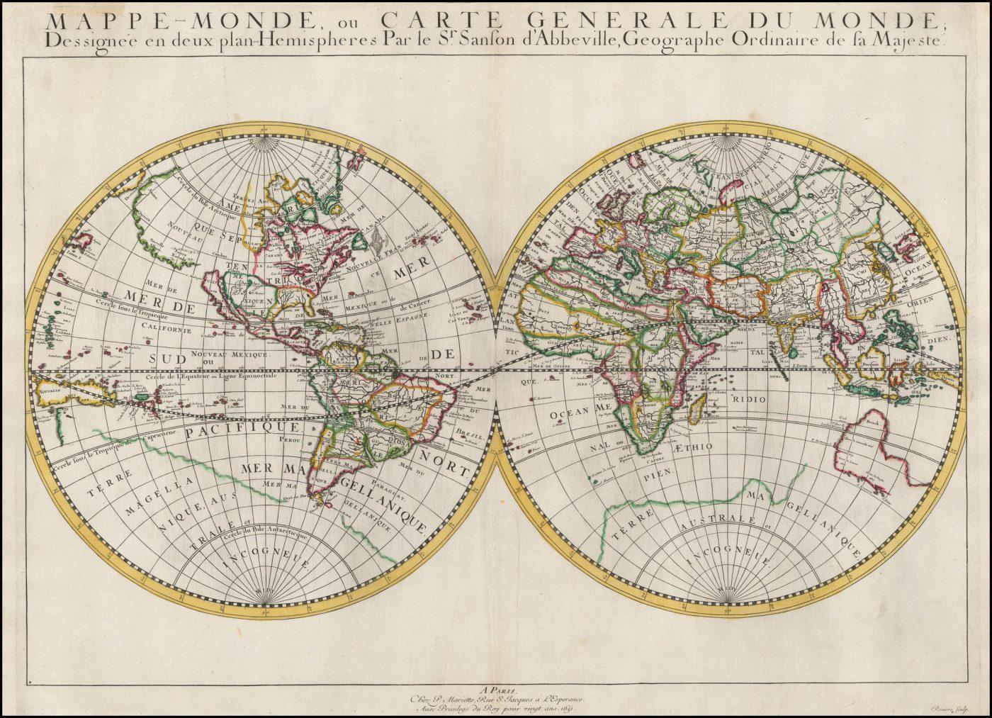 Первое издание первой карты мира Николаса Сансона