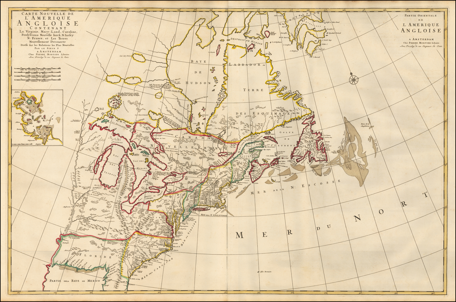 Подробная двухлистовая карта британских колоний в Северной Америке
