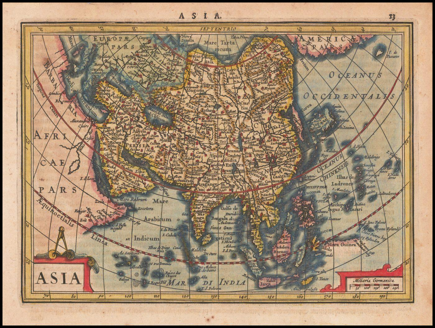 Подробная ранняя карта Азии из атласа Меркатора-Хондия