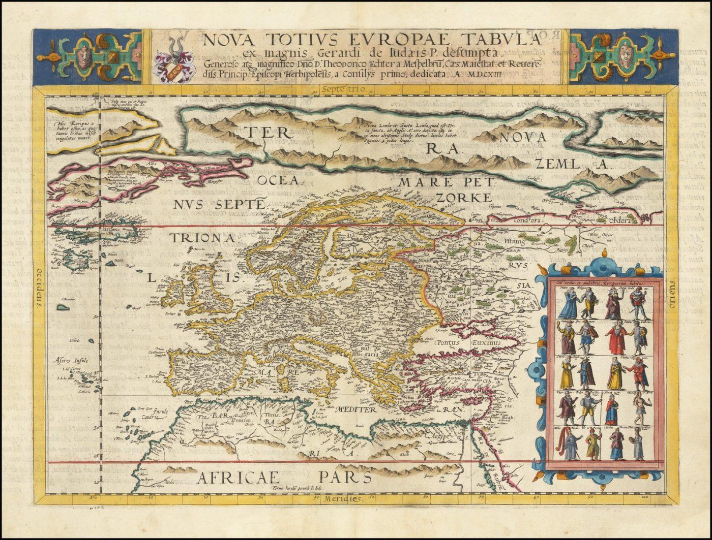 Поразителен полноцветный пример редкой карты Европы Жерара Де Жода, вышедшей только во втором издании Speculum Orbis Terarrum в 1593 году