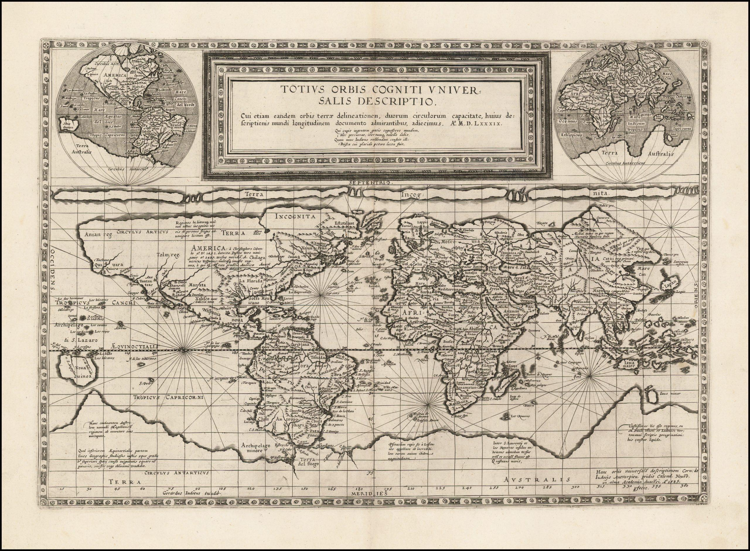 Прекрасная голландская карта мира с использованием проекции Маринуса из Тира