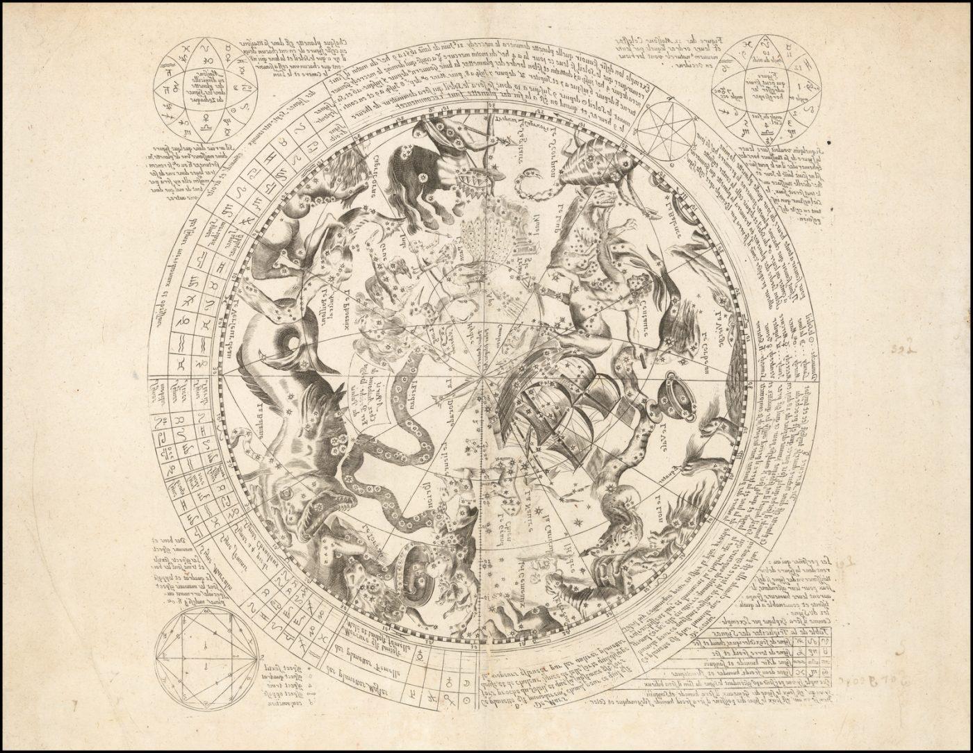 Прекрасная, неучтенная карта созвездий Южного полушария, опубликованная в Париже Антуаном де Фером