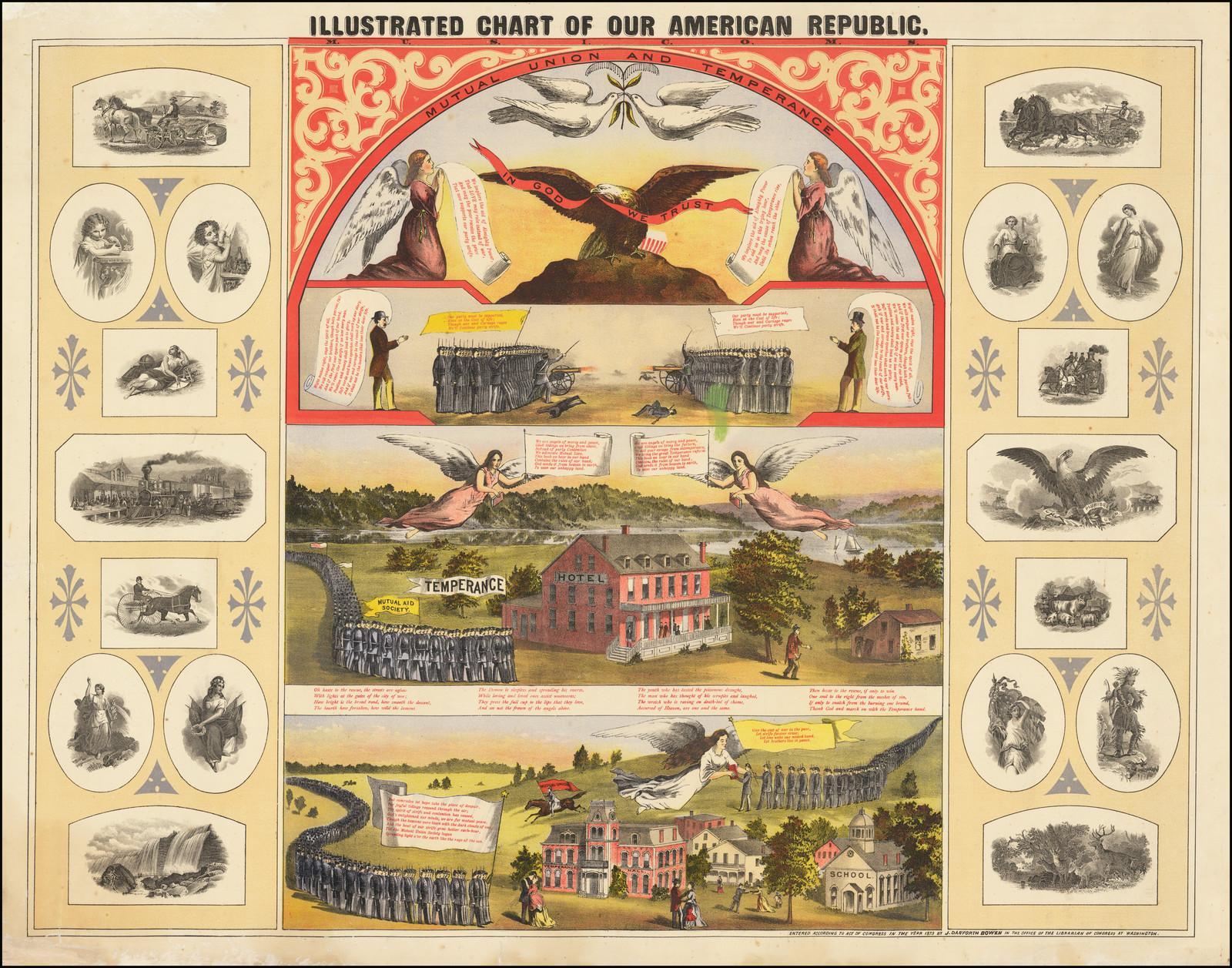 Прекрасное хромолитографическое изображение, объединяющее пять цветных печатных виньеток, связанных с американским патриотизмом, профсоюзом и трезвостью