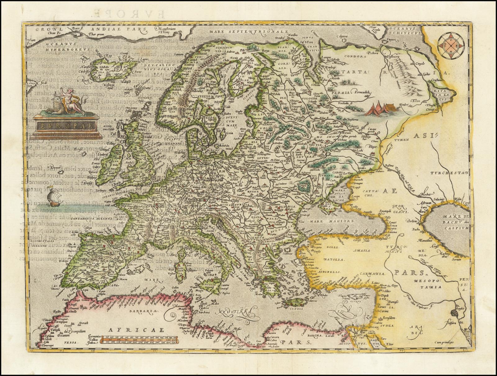 Прекрасный пример первой карты Европы Ортелиуса