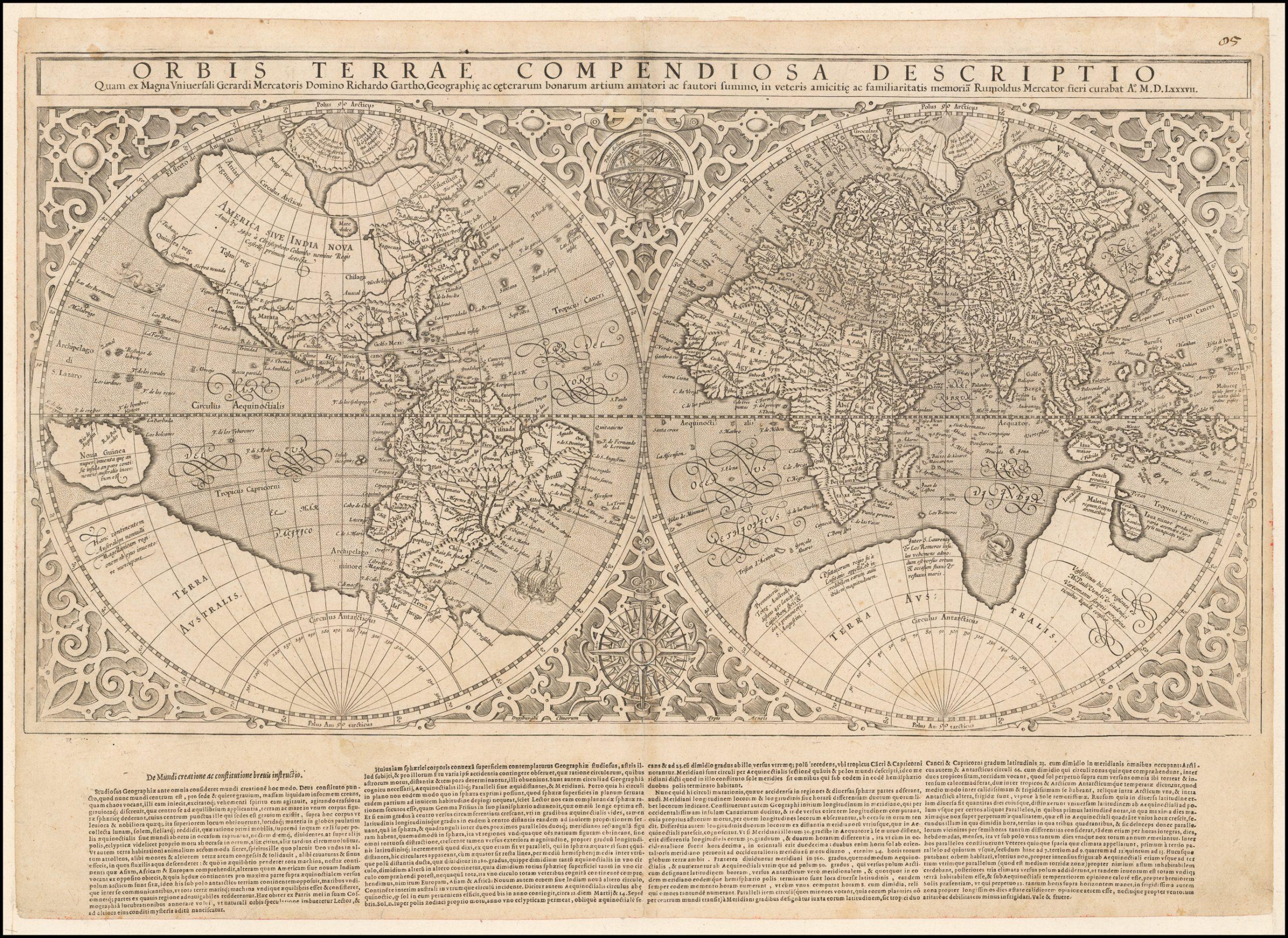 Привлекательный, ранний вариант карты мира Румольда Меркатора, впервые напечатанной в Женеве в 1587 году